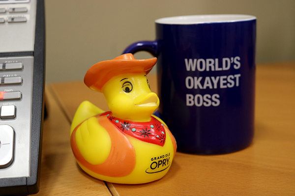 Cowboy Duck enjoying a nice day in the office.