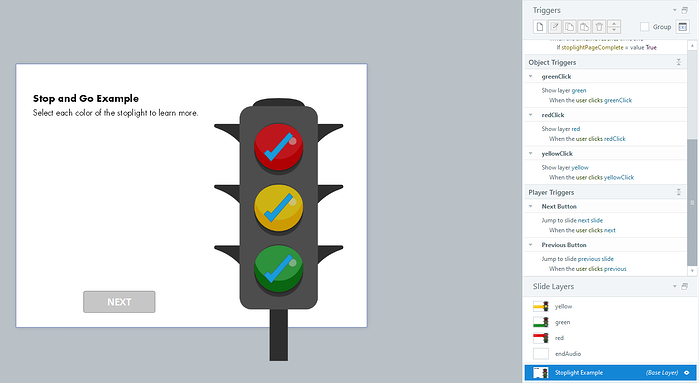 Example of slide with interactive stoplight. Each stoplight color has a different layer