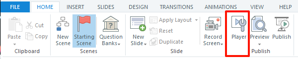 Storyline 360 Navigation Player Button in top menu
