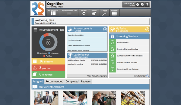 Example Student Dashboard Cognition Learning Management System