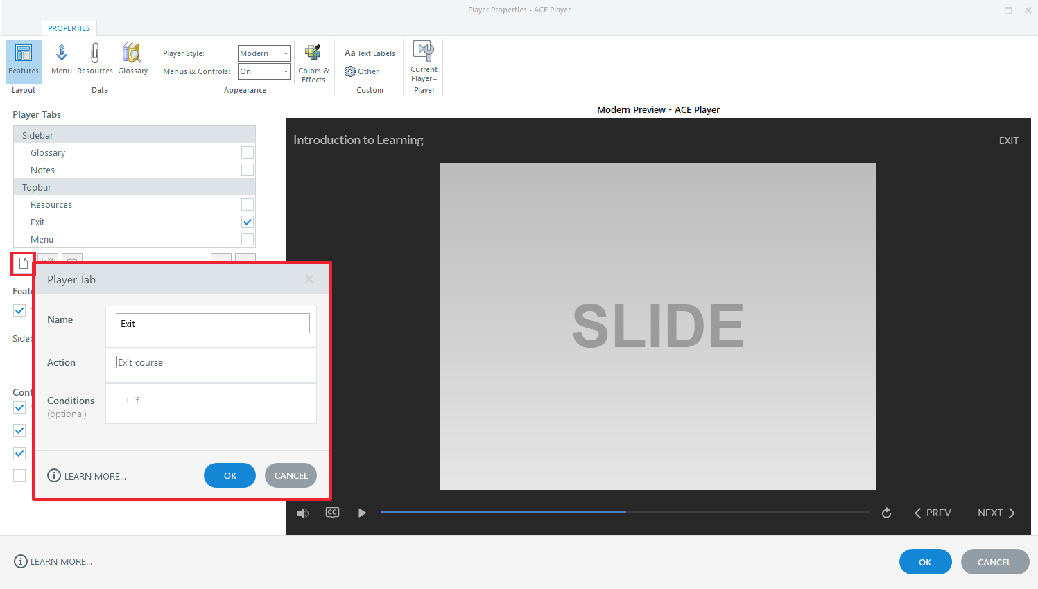 Storyline 360 Exit course button