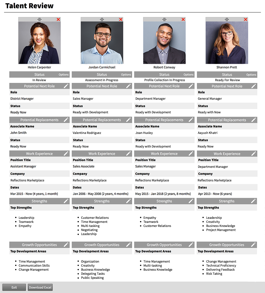 Cognition Talent Management - Side by Side Talent Assessment tool with talent profiles of team members.