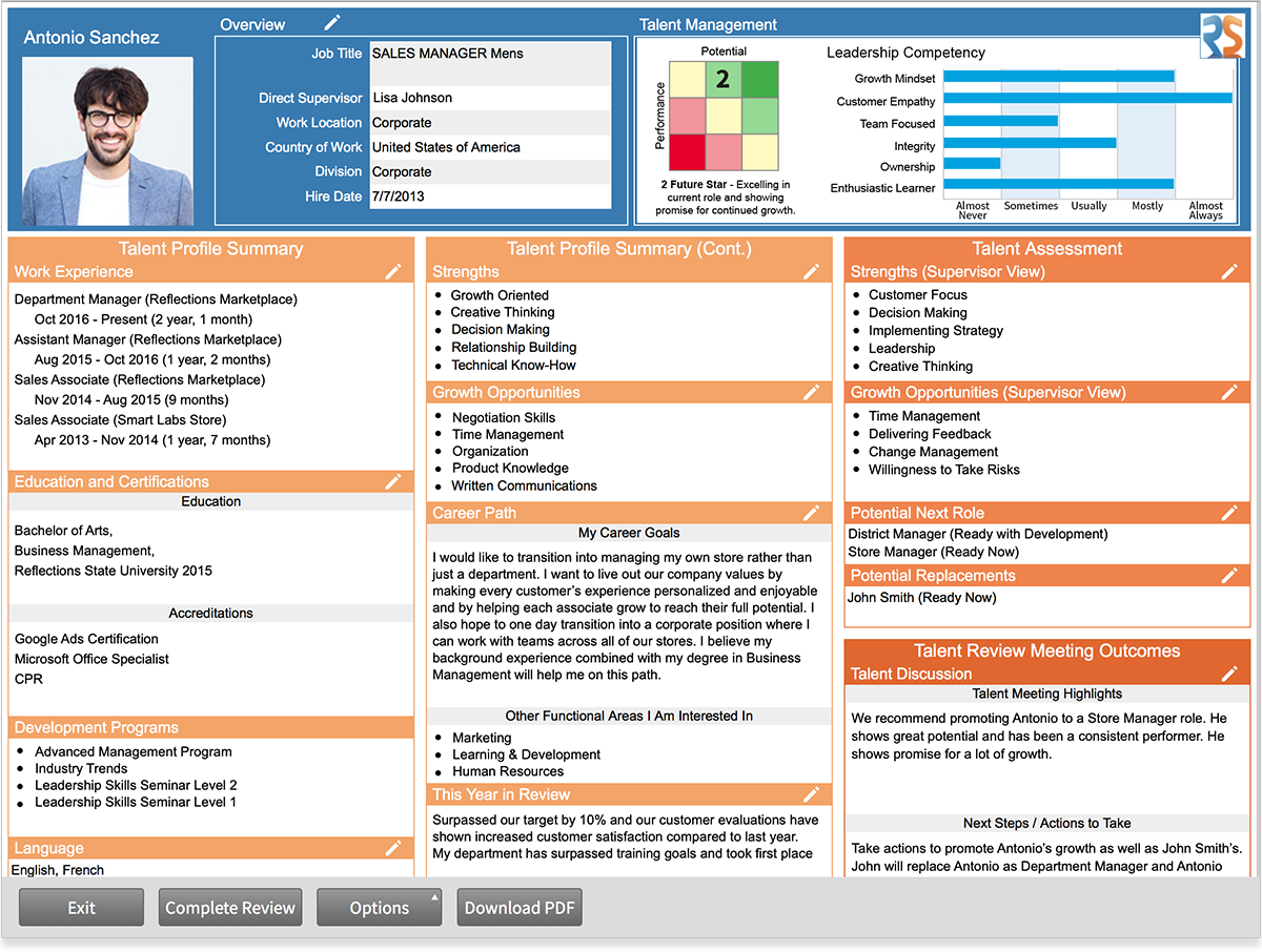 Talent Profile showing Associate talent information, supervisor, and HR reviews.
