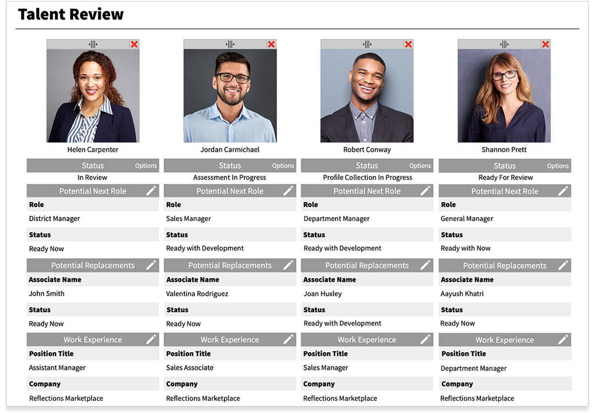 Talent Review side by side view. Review team information side by side.